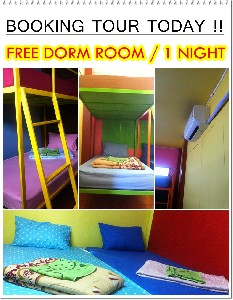 Booking all tours free for rooms (dorm)